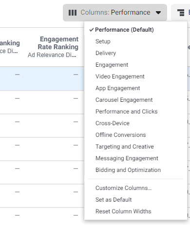 facebook ads manager column options