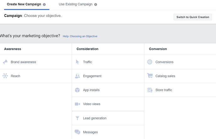 Facebook Ad Campaigns Objective Selector