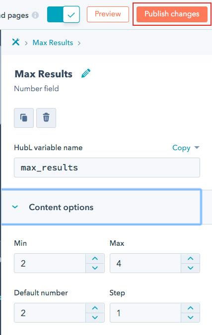 publish search module option changes